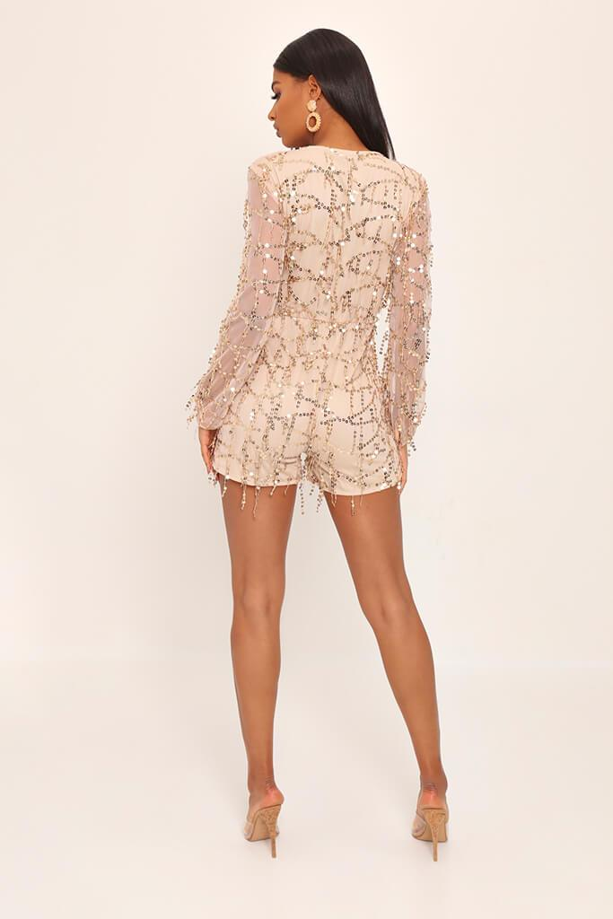 Gold Tassel Sequin Plunge Playsuit view 5