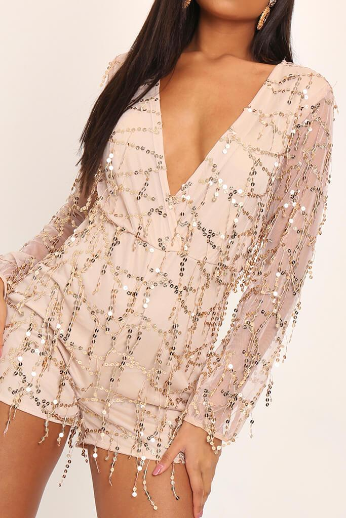 Gold Tassel Sequin Plunge Playsuit view 4