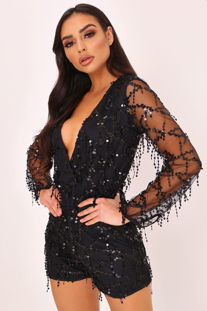 Black Tassel Sequin Plunge Playsuit view main view