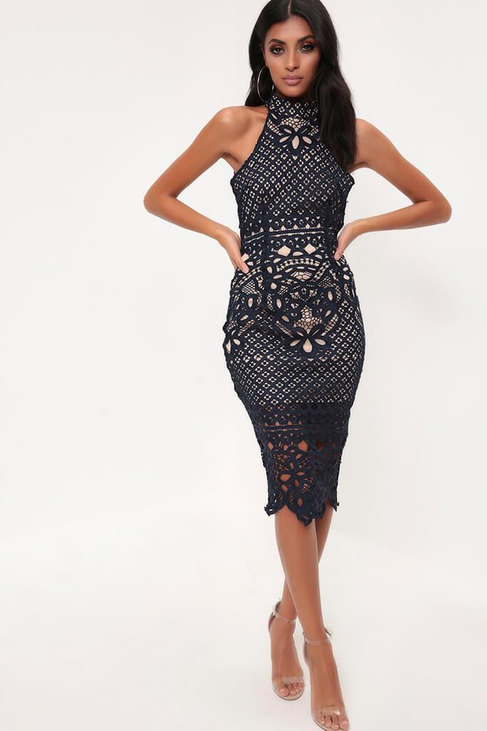Navy High Neck Crochet Lace Midi Dress