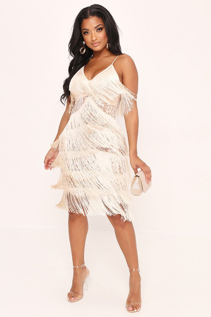 Nude Sheer Fringe & Lace Midi Prom Dress view 2