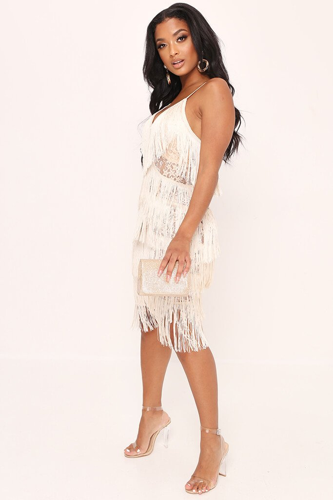 Nude Sheer Fringe & Lace Midi Prom Dress view 3