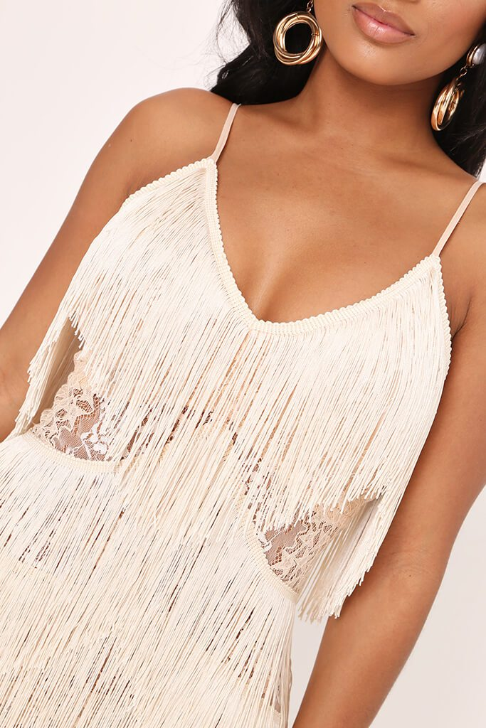 Nude Sheer Fringe & Lace Midi Prom Dress view 4