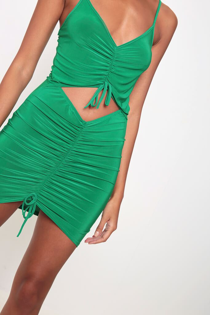 Green Ruched Front Cut Out Mini Dress view 4