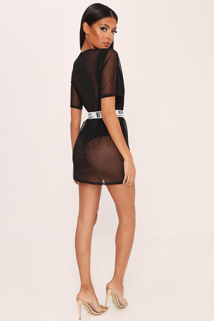 Black Mesh T-Shirt Dress view 4