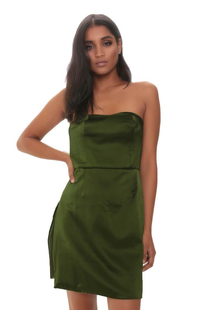 Khaki Satin Bandeau Mini Dress
