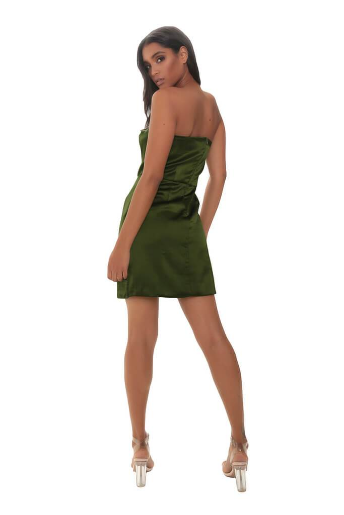 Khaki Satin Bandeau Mini Dress view 3