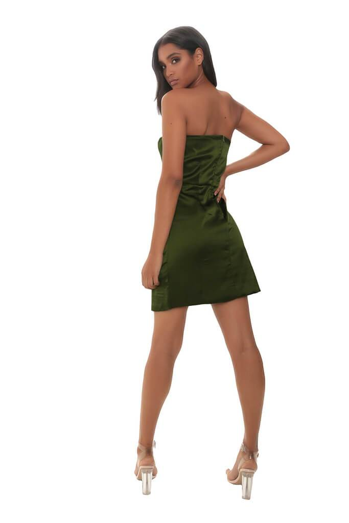 Khaki Satin Bandeau Mini Dress view 5