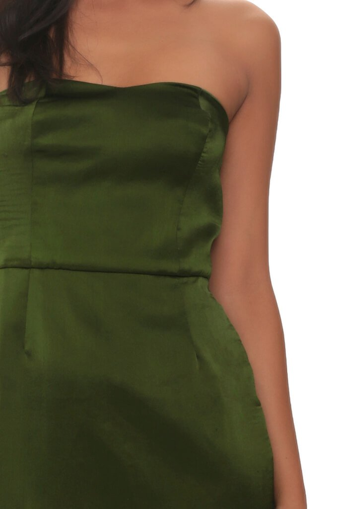 Khaki Satin Bandeau Mini Dress view 4