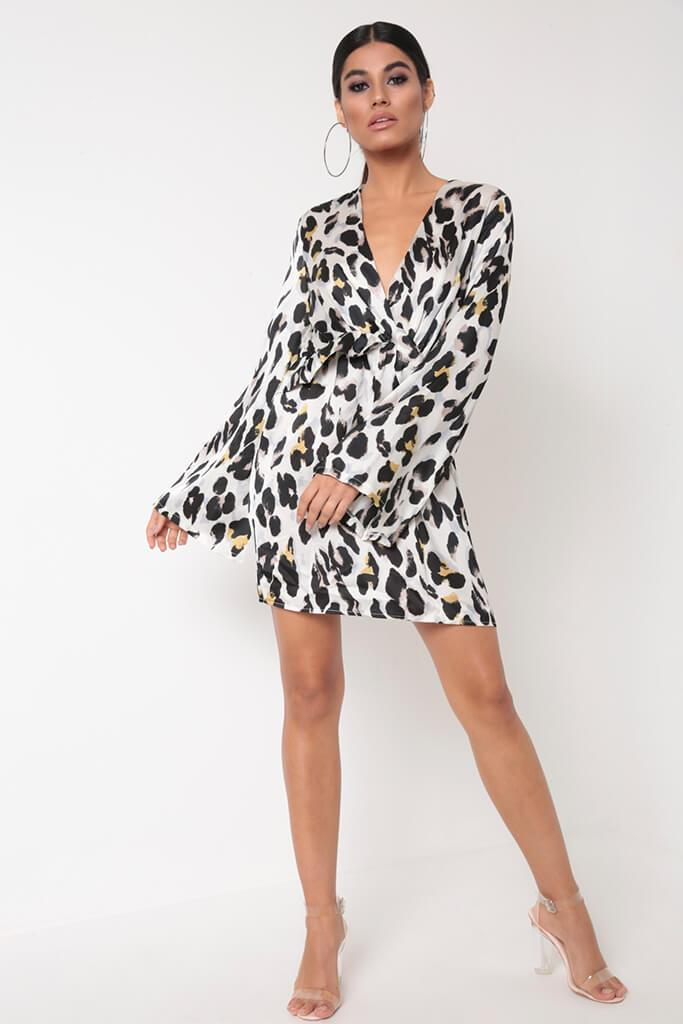 White Leopard Print Flare Sleeve Dress view 2