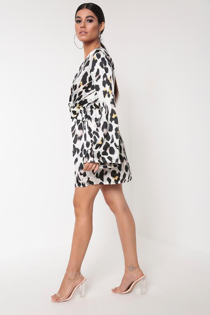White Leopard Print Flare Sleeve Dress view 3