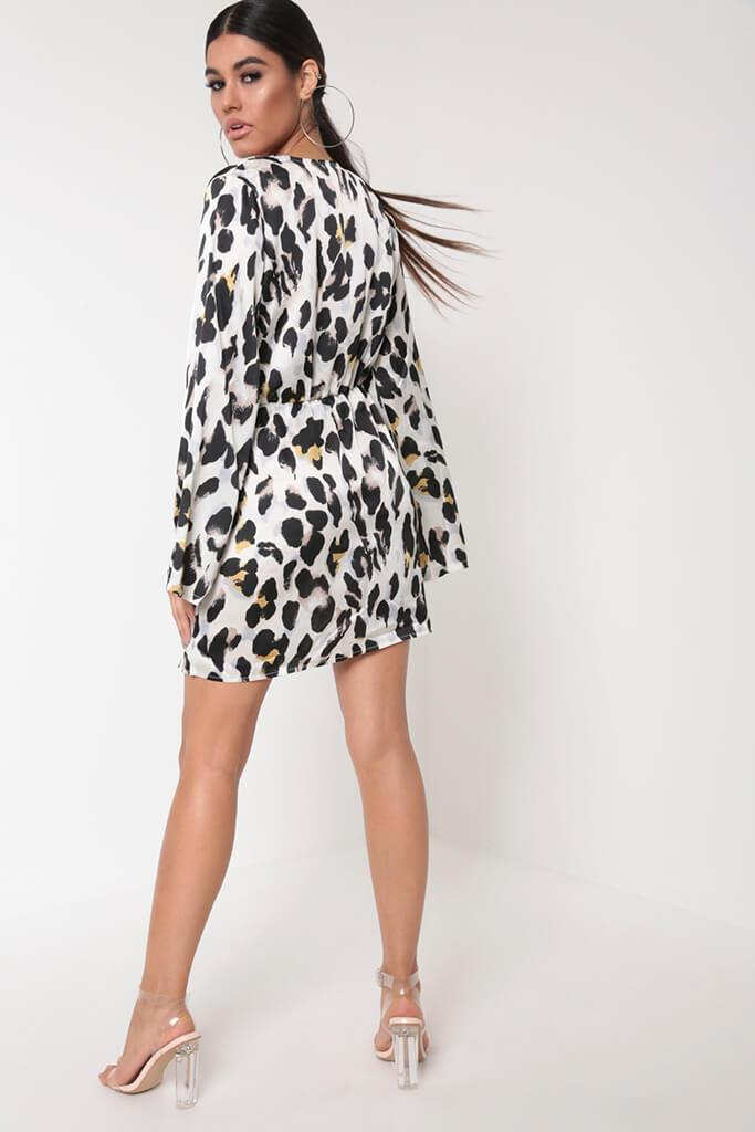 White Leopard Print Flare Sleeve Dress view 5