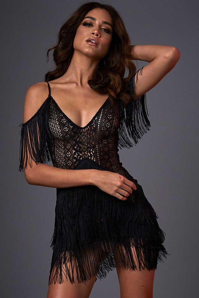 Black Lace & Fringe Cold Crochet Shoulder Dress