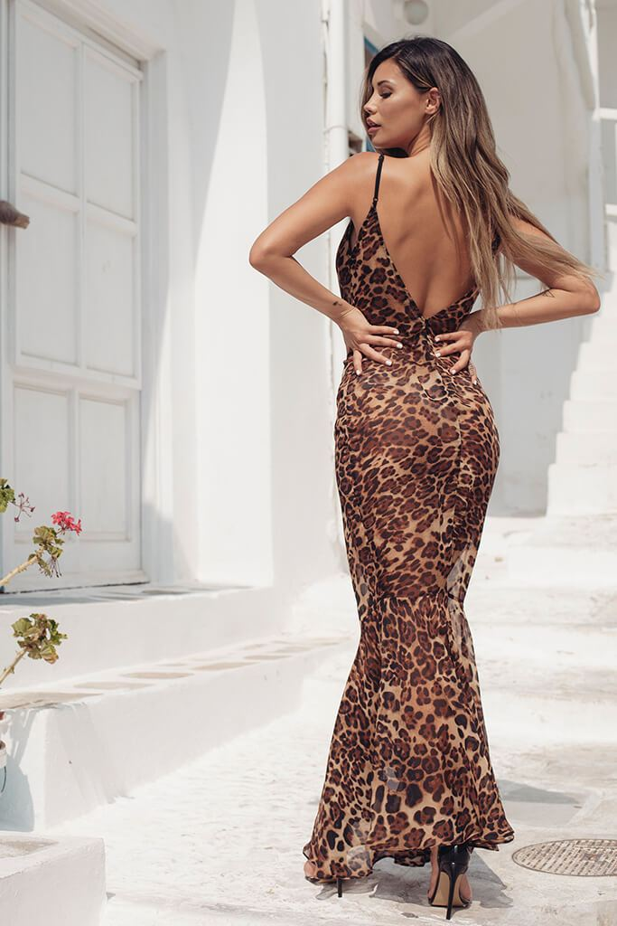 Brown Leopard Print Maxi Dress view 4