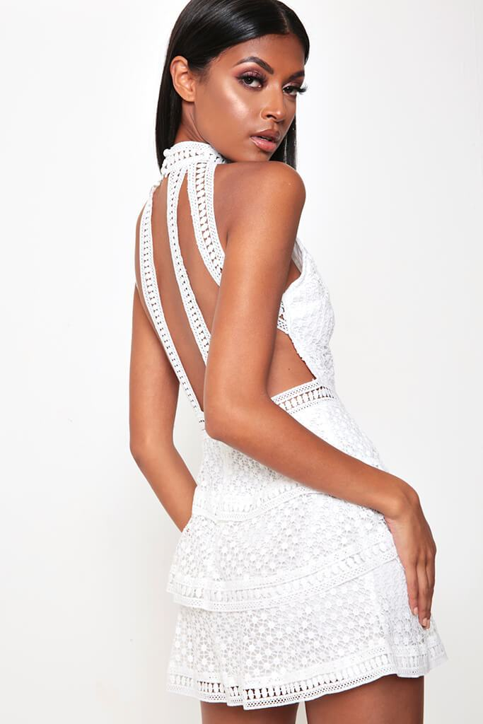 White Frill Crochet Lace Open Back Dress view 3
