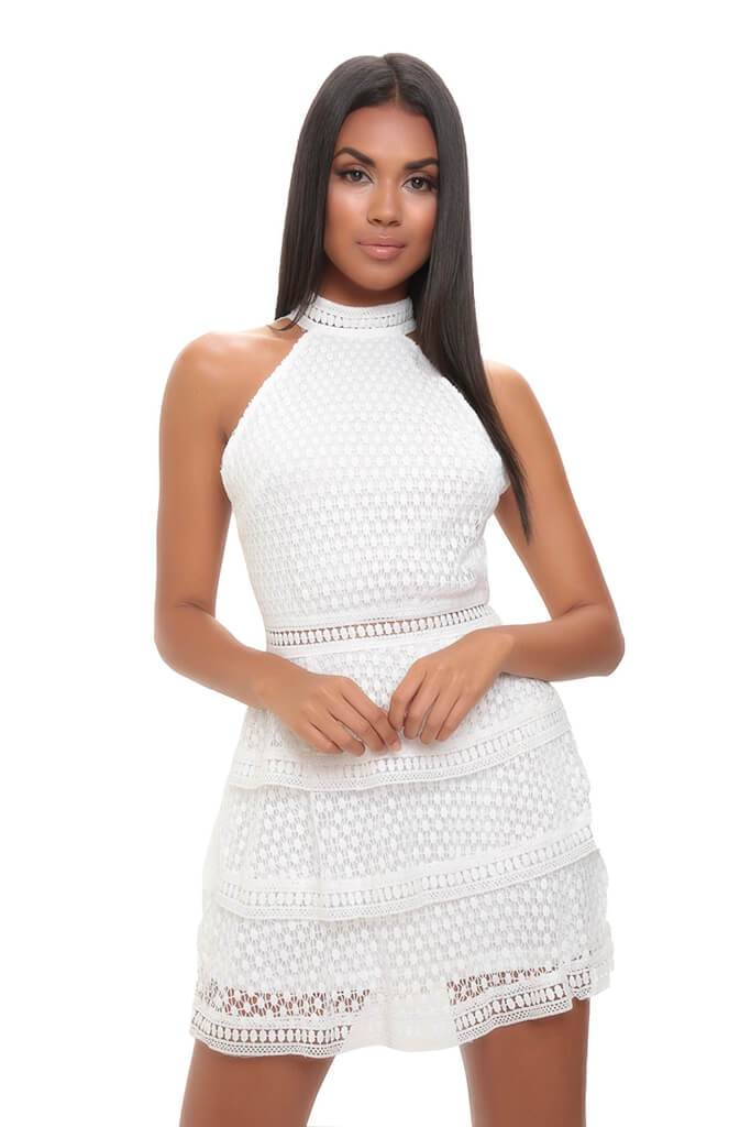 White Frill Crochet Lace Open Back Dress view 2