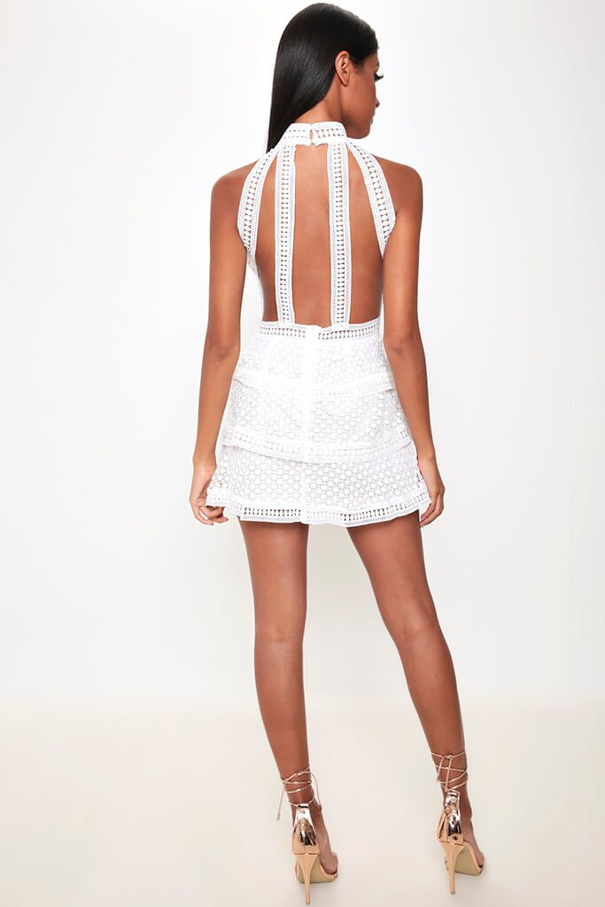 White Frill Crochet Lace Open Back Dress view 5