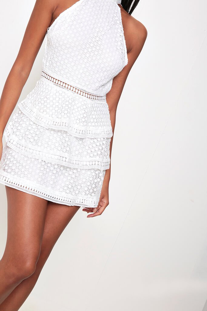 White Frill Crochet Lace Open Back Dress view 4