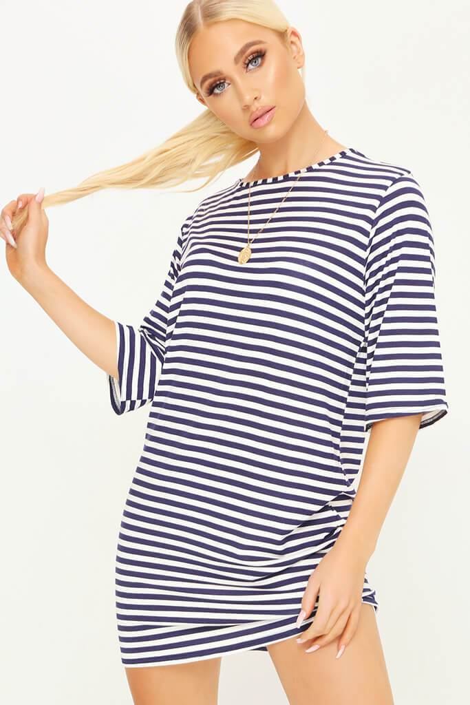 Blue/White Jersey Striped Short Sleeve T Shirt Dress view main view