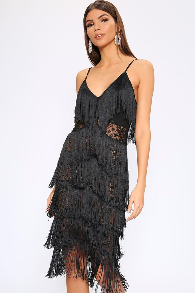 Black Fringe & Lace Midi Dress view 2