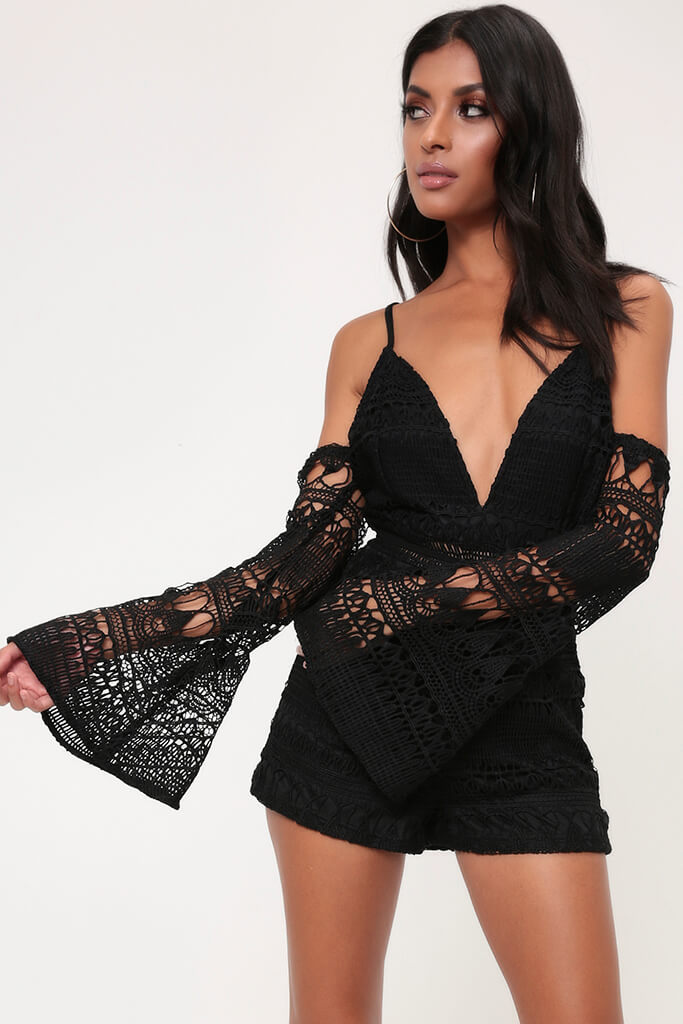 Black Crochet Plunge Cold Shoulder Playsuit