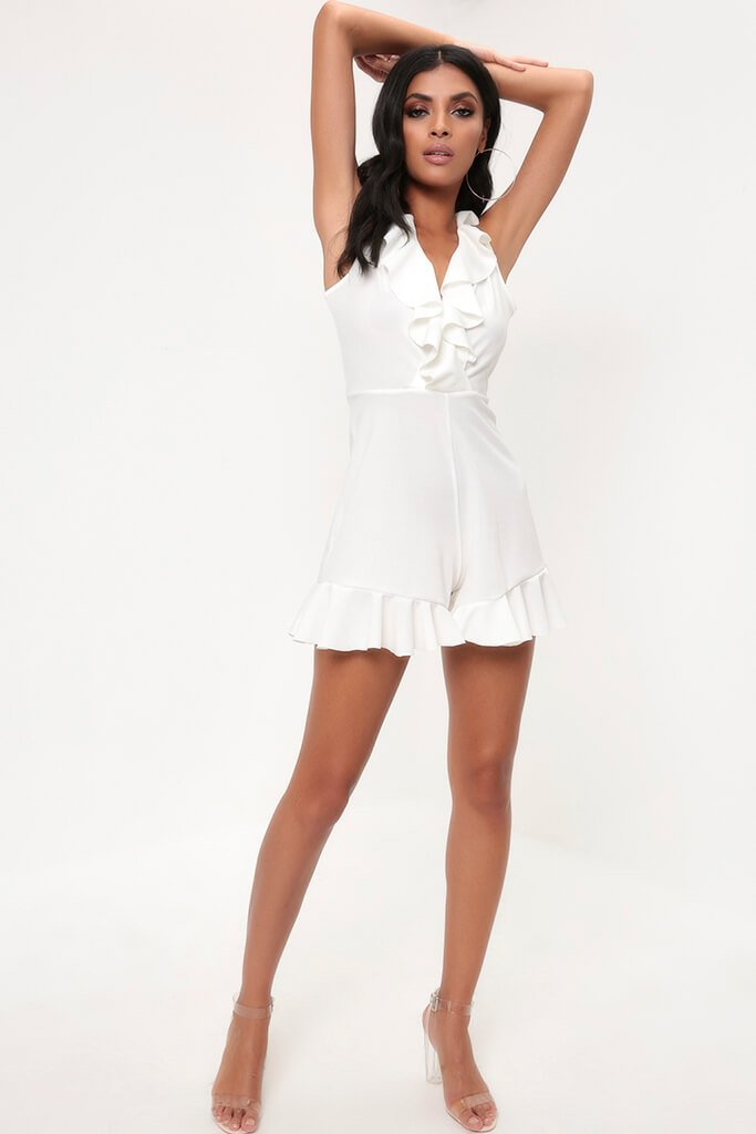White Frill Plunge Playsuit view 2