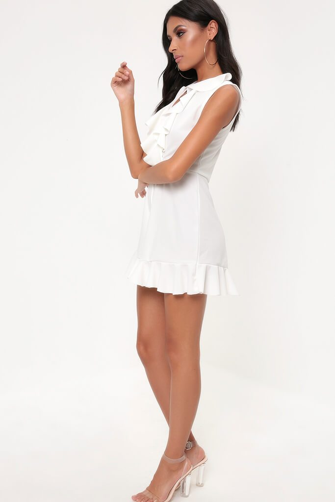 White Frill Plunge Playsuit view 4