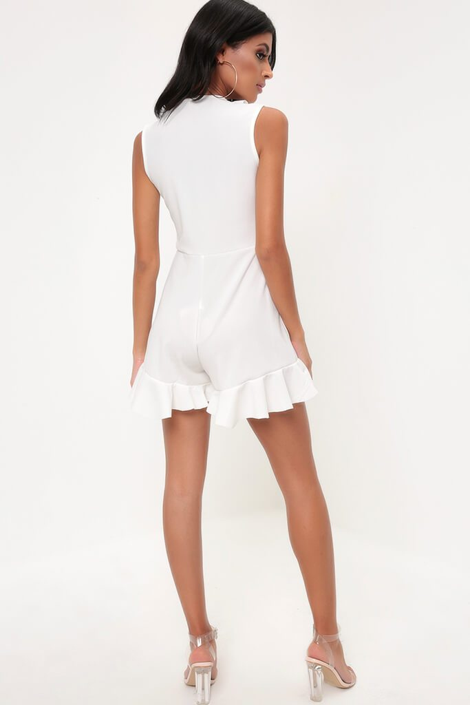 White Frill Plunge Playsuit view 5