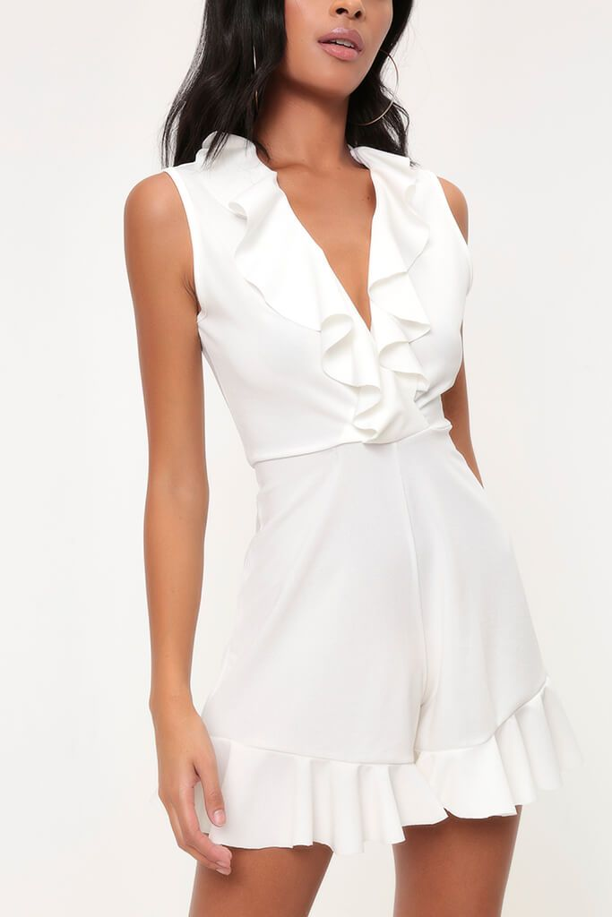 White Frill Plunge Playsuit view 3