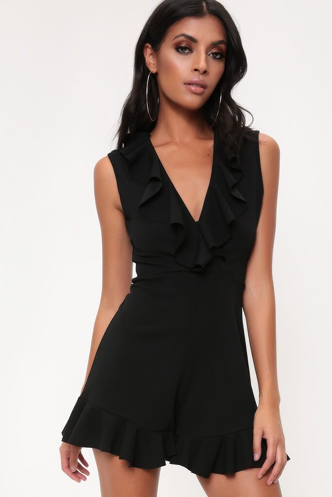 Black Frill Plunge Playsuit