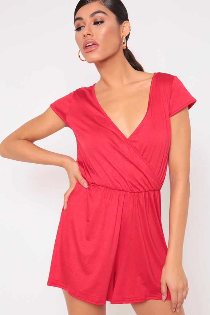 Red Wrap Front Playsuit