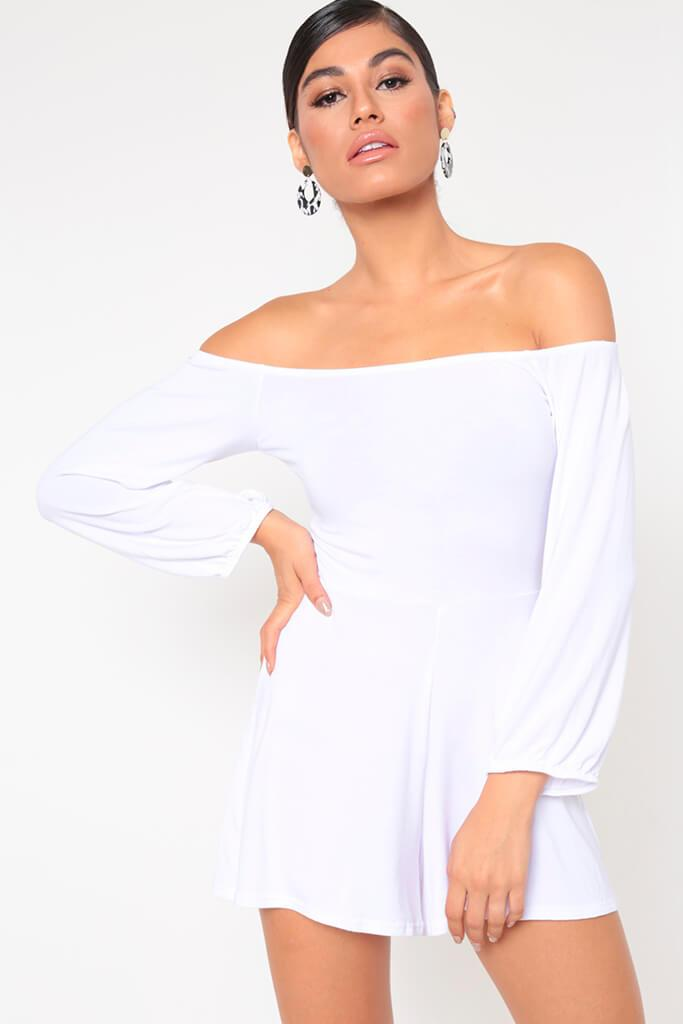 White Basic Bardot Long Sleeve Playsuit view main view