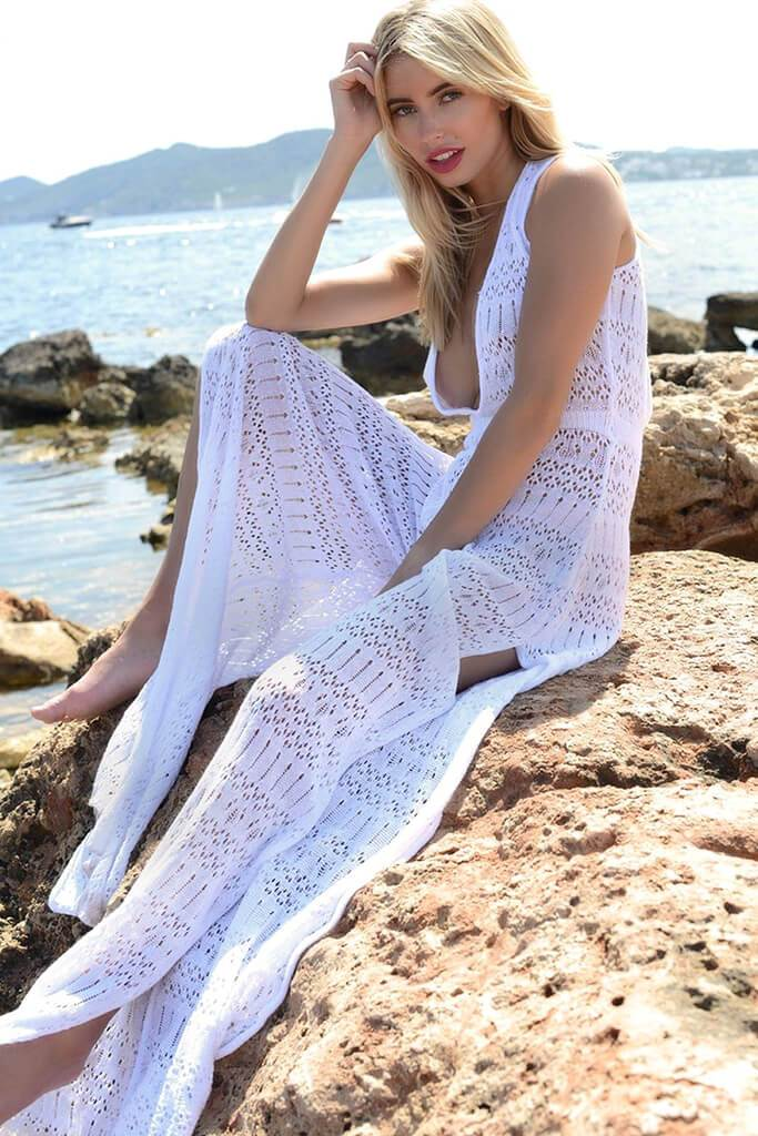 White Crochet Plunge Jumpsuit view 2