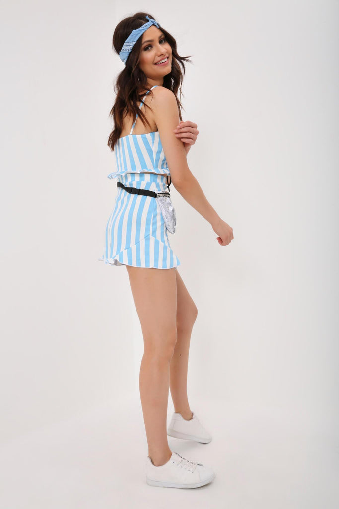 White / Blue Stripe Lace Up Ruffle Top