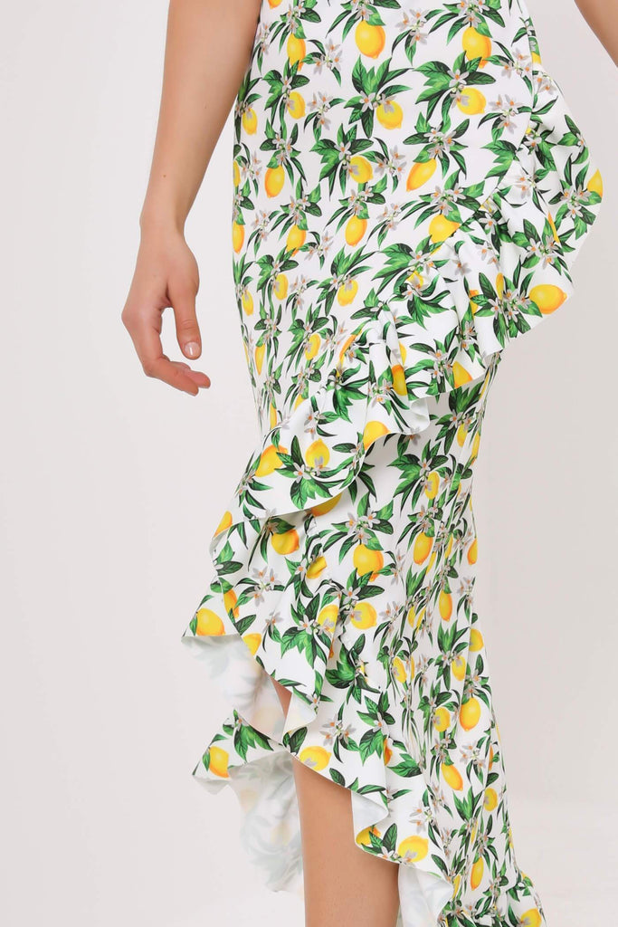 White Lemon Print Wrap Front Flamenco Skirt