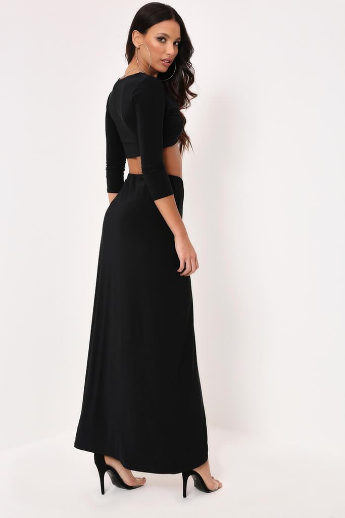Black Slinky Ring Detail Split Maxi Skirt
