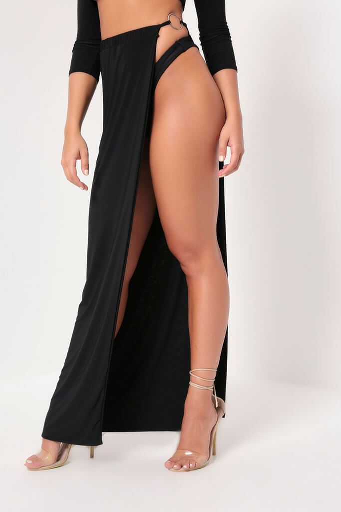 Black Hourglass Slinky Ring Detail Split Maxi Skirt