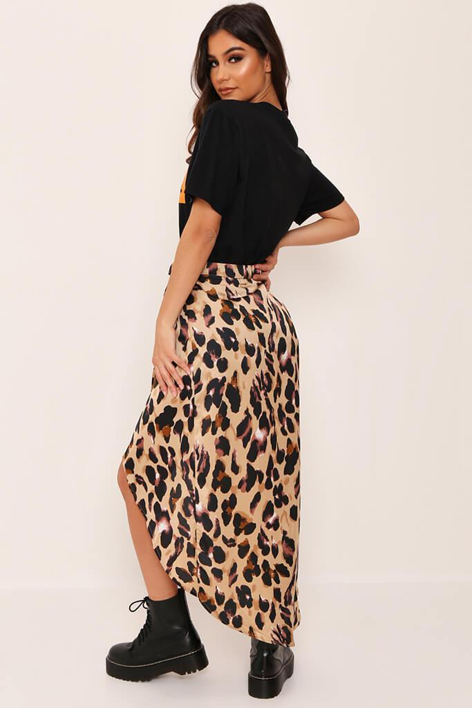 Brown Leopard Print Wrap Skirt view 5