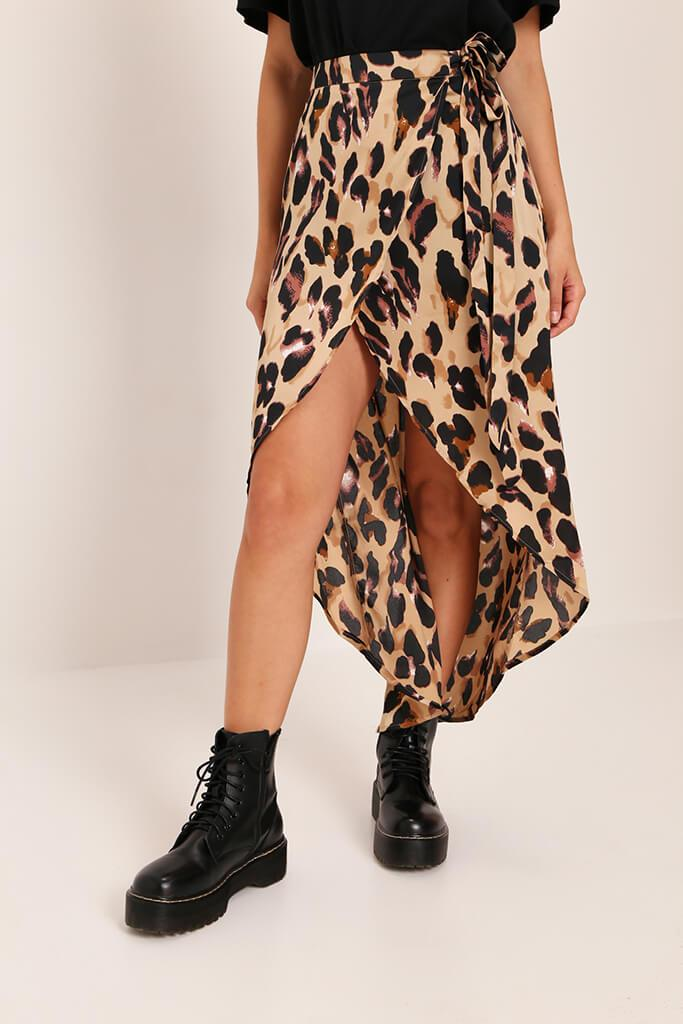 Brown Leopard Print Wrap Skirt view 2