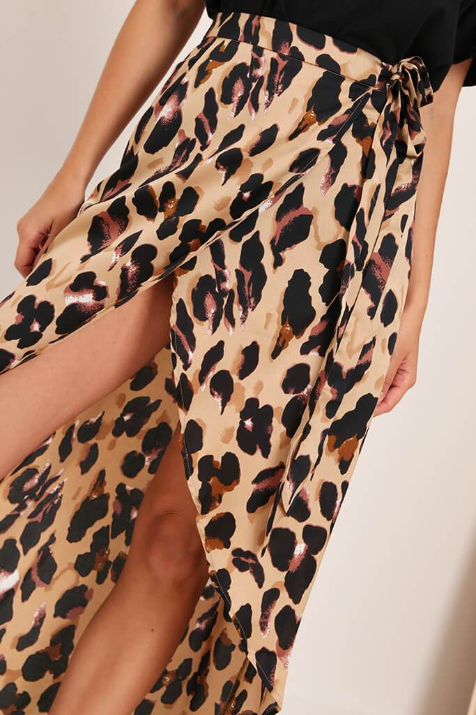 Brown Leopard Print Wrap Skirt view 4