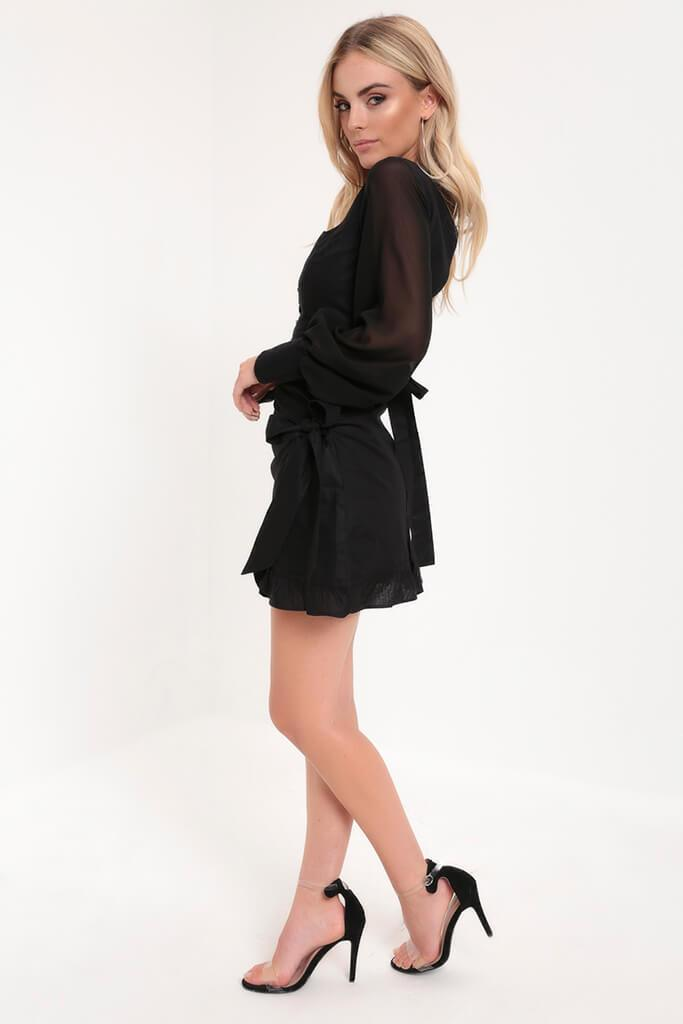 Black Ruffle Wrap Tie Front Skirt view 2