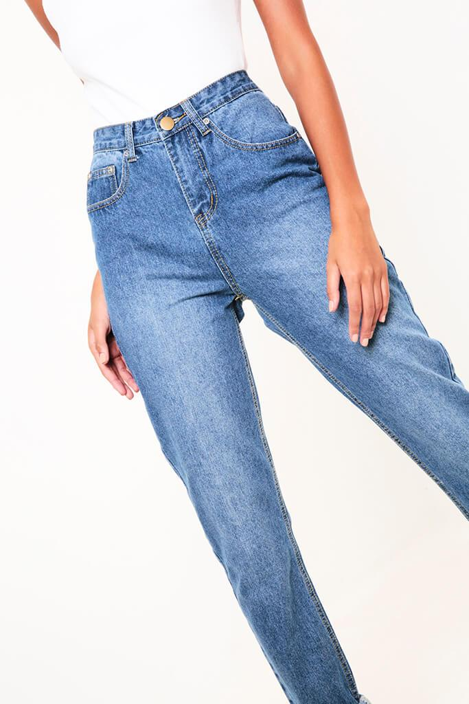 Mid Wash High Rise Mid Wash Mom Jeans view 3