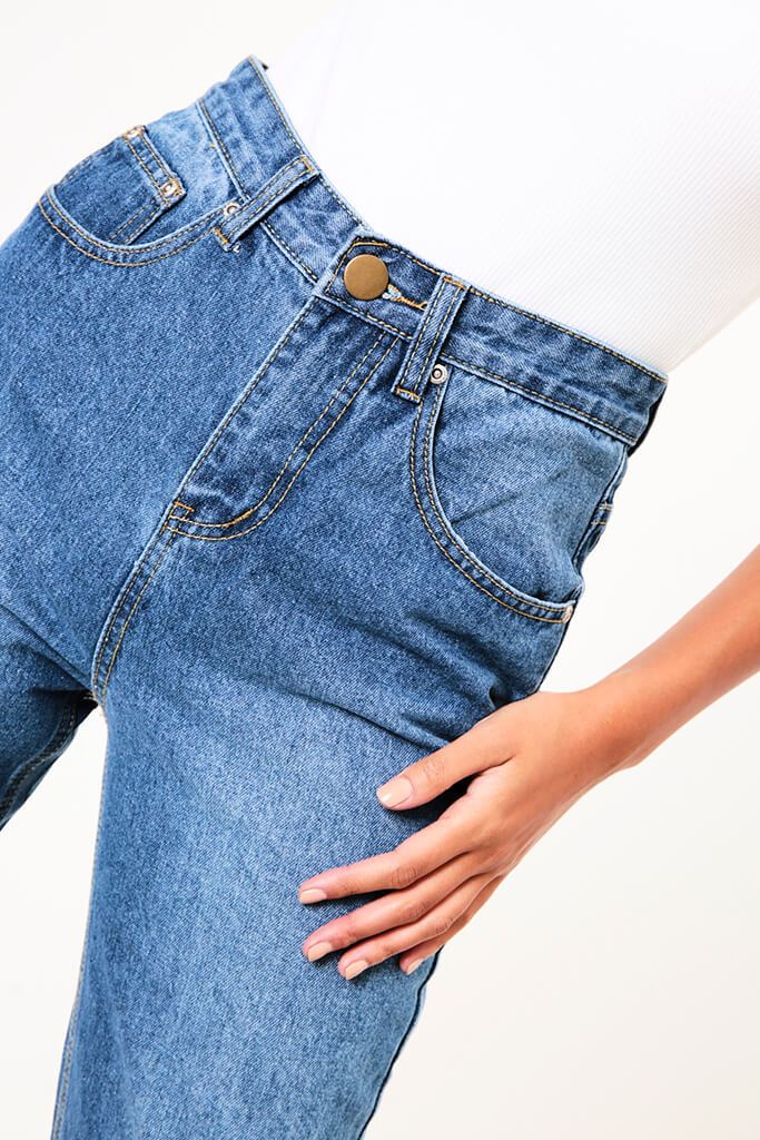 Mid Wash High Rise Mid Wash Mom Jeans view 4
