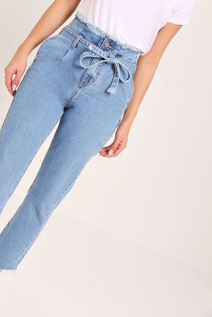 Blue High Waisted Frayed Paper Bag Mom Jeans
