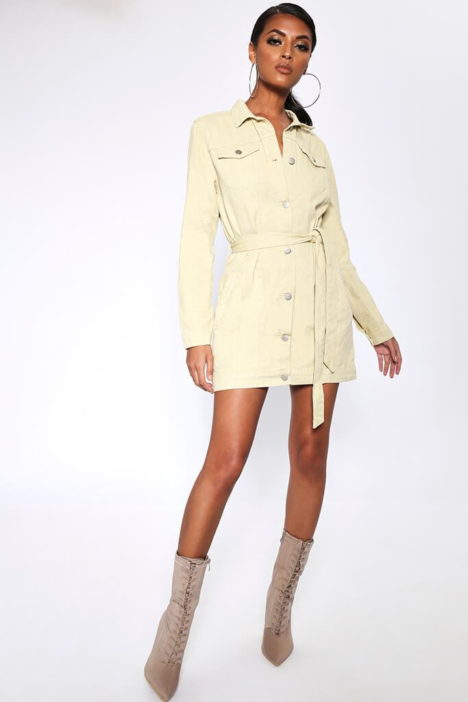 Cream Denim Jacket Style Mini Dress