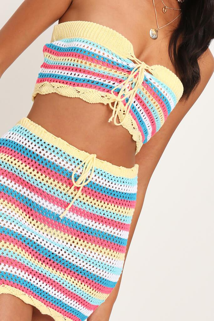 Multi Crochet Tie Bandeau Crop Top view 4