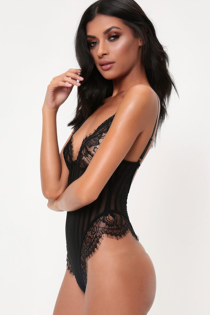 Black Striped Lace Bodysuit