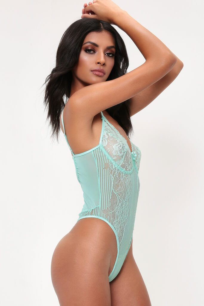 Mint Floral & Stripe Lace Bodysuit view 3
