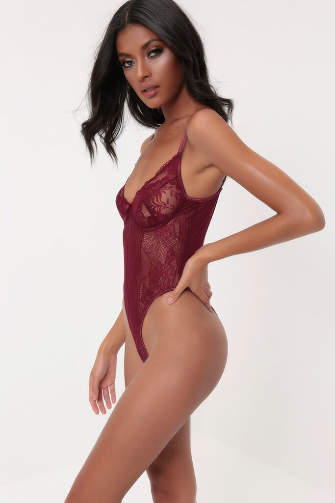 Plum Floral & Stripe Lace Bodysuit view 3