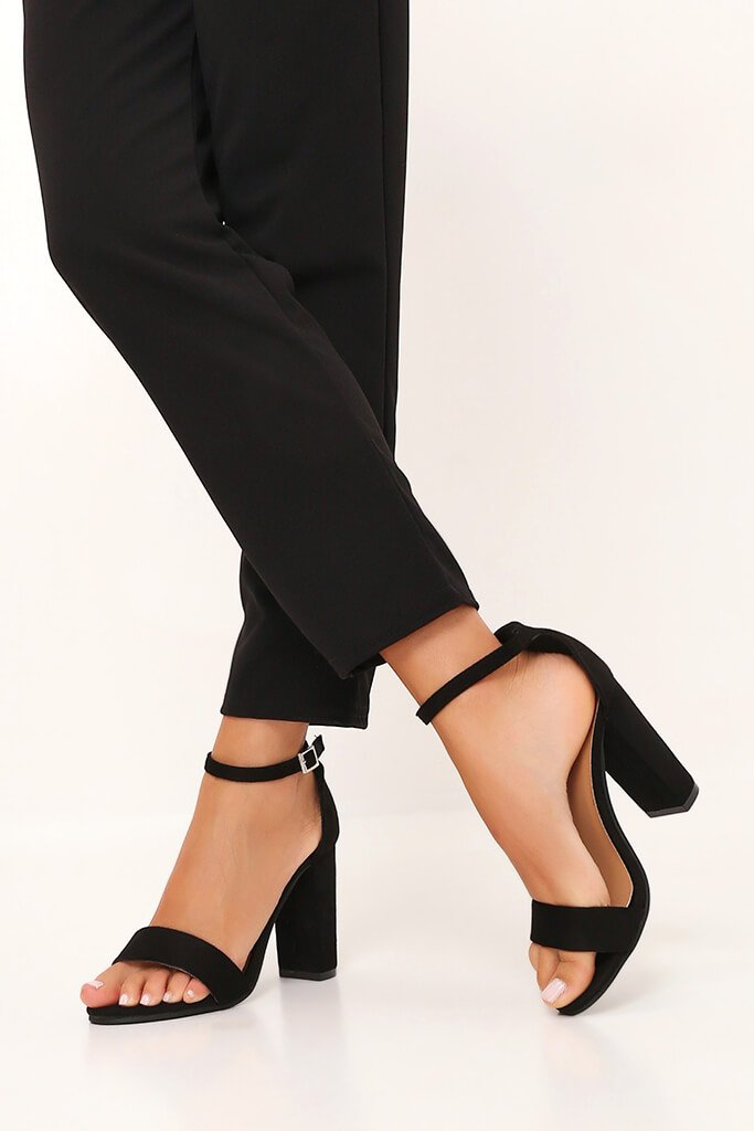 Black Block Heel Sandals view main view